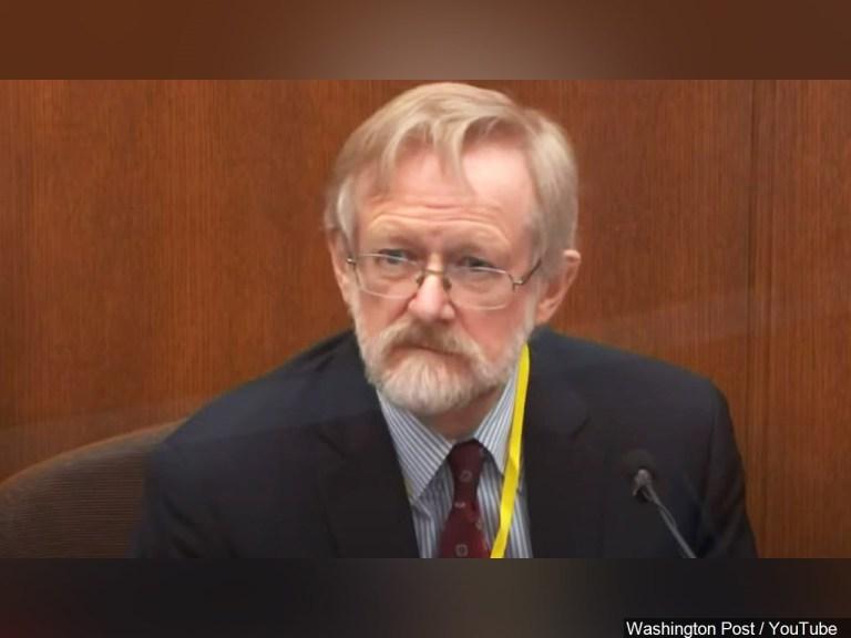 Dr. Martin Tobin on the witness stand at the Derek Chauvin murder trial (MSR Online/Washington Post/Youtbue)